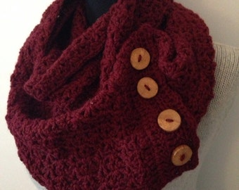 Oxblood Marsala Scarf, Merlot, Burgundy Cowl with 4 Chunky Reclaimed Wood Buttons