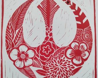Red Floral rebellion Star Wars Art original linocut artwork print 8×10 *imperfect*