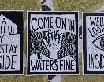 Inside Bo Burnham 3 Print Set original linocut artwork print 8×10