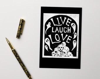 Ironic Live Laugh Love Original Linocut Art Standard Postcard