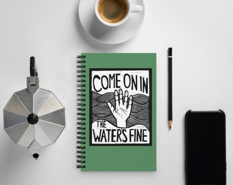Come On In, The Water's Fine Block Print Blank Book Journal