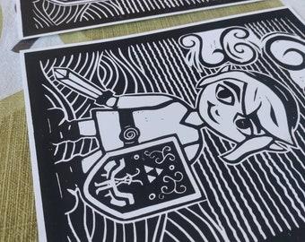 Legend of Zelda Link Windwaker original linocut artwork print 8×10