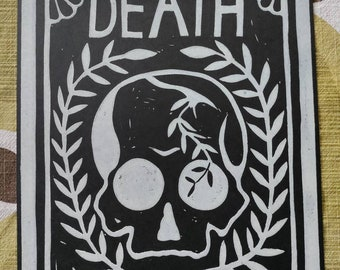 Death Card Tarot Art original linocut artwork print 8×10