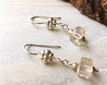 Champagne Quartz Cube Earrings, Dainty Faceted Gemstone Earrings, Sterling Silver Anniversary Gift for Her