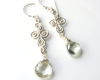 Long Prasiolite Earrings, Pastel Green and Silver, Gemstone Dangles, Delicate Filigree Wrapped Briolettes, Sage Green, Sterling Silver