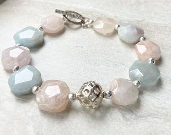 Natural Morganite Beaded Bracelet Octagon Shape Sterling Silver Toggle Clasp Pastel