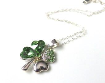 Green Shamrock Necklace,  Four Leaf Clover, Sterling Silver Chain,  Irish Jewelry, Glass Shamrock, St Patricks Day Gift, Emerald Green