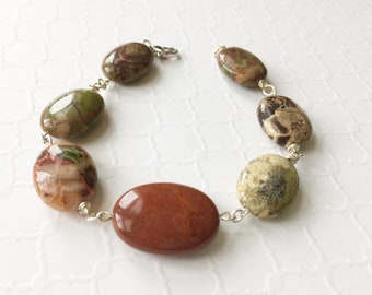 Oval Agate Gemstone Bracelet, Earthtone Beaded Bracelet, Nature Inspired, Green and Brown Agate, Silver Clasp, Natural Gemstone Bracelet