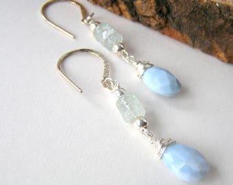 Peruvian Blue Opal Earrings, Dainty Aquamarine Sterling Silver Earrings Faceted Gemstones