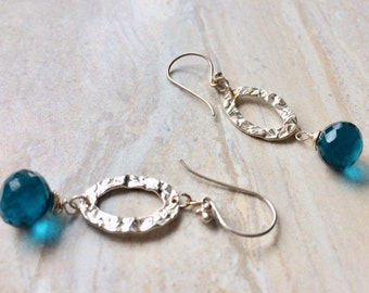 Hammered Oval Hoop Earrings Faceted Blue Quartz Sterling Silver Long Dangle Earrings