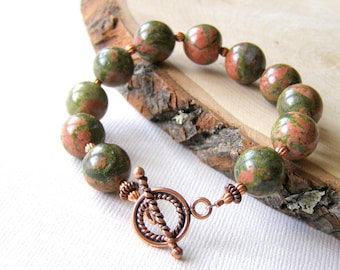 Copper Unikite Bracelet, Green Gemstone Bracelet, Rustic Gemstones, Orange and Green, Copper Toggle Clasp,  Fall Colors, Unique Jewelry