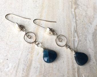 Dainty Faceted Apatite Minimalist Earrings, Sterling Silver Gemstone Blue