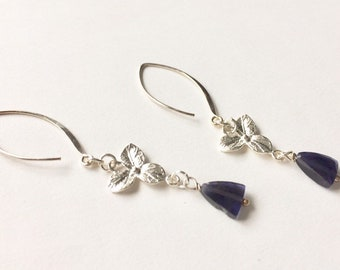 Dainty Iolite Earrings, Sterling Silver Midnight Blue Floral, Anniversary Gift for Her