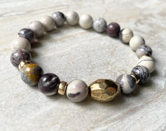 Porcelain Jasper Bracelet, Neutral Tones Brass Accent Stackable Gemstone Stretch Bracelet