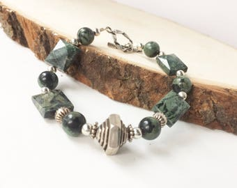 Green Jasper Bracelet, Sterling Silver,  Kambaba Jasper Gemstones, Toggle Clasp, Forest Green Beaded Bracelet, Unique Gift For Her
