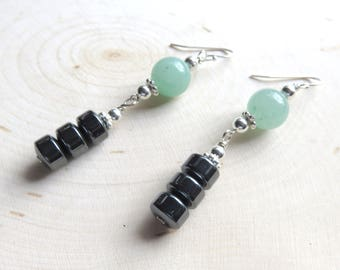 Green Aventurine Drop Earrings, Hematite Columns, Sterling Silver Tube Earrings, Mint Green Beads, Unique One of a Kind Gift for Her