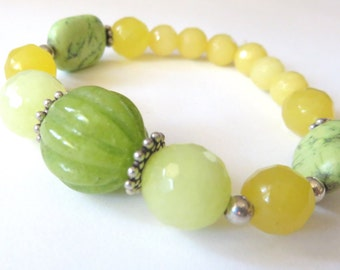 Bright Citrus Jade Bracelet, Lime Green and Lemon Yellow, Summery Stretch Bracelet, Unique Jewelry for Spring, Turquoise and Sterling Silver