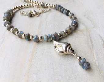 Labradorite Silver Seashell Pendant Necklace, Blue Gemstones Sterling Silver Chain, Dainty Necklace