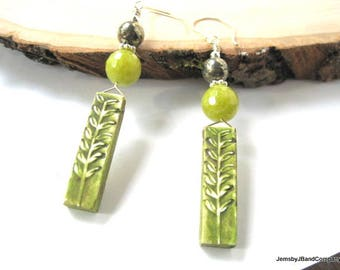Bright Jade Earrings, Lime Green Clay Dangles, Pyrite and Sterling Silver, Nature Inspired Bar Earrings, Floral Design, Unique Gift for Her