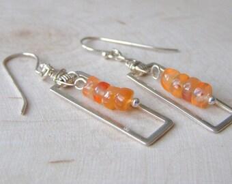 Orange Carnelian Rectangle Earrings, Sterling Silver Geometric Gemstone Earrings Gift for Her