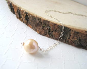 Baroque Pearl Necklace, Cream Freshwater Pearl, Sterling Silver Cable Chain, Pearl Pendant, Solitaire Necklace, Pearl on Chain, Gift for Her