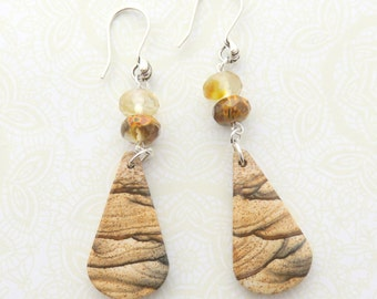 Picture Jasper Earrings, Long Brown and Silver Gemstone Earrings, Southwestern, Earthtones, Sterling Silver Gemstone Jewelry, Rustic Look