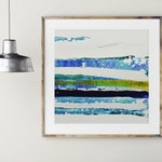 "16x16"" ORIGINAL Abstract Art, Minimalist Abstract, Acrylic Painting, Ocean Waves, Coastal Wall Decor, Blue White Art, AQUA 10 Lisa Carney"