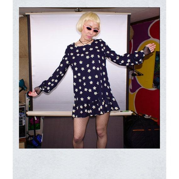 VINTAGE 60s Style Black Daisy Floral Flower Drop Waist Baby Doll Lolita Mini Dress SM