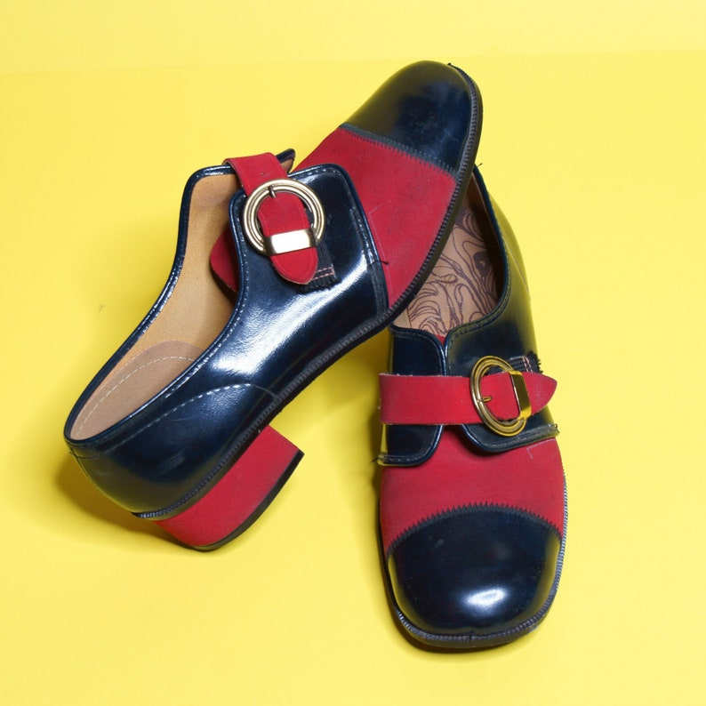 Vintage 70s Red Navy Buckle Oxford Loafer Spectator Shoes Rare!