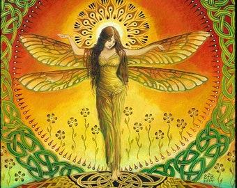 Dragonfly Goddess 5x7 Greeting Card Fine Art Print Pagan Mythology Bohemian Witch Celtic Fairy Goddess Art