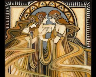 The Three Graces 11x14 Print Art Nouveau Fine Art Deco Pagan Bohemian Greek Goddess Art