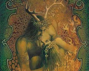 Beltane Reunion 5x7 Greeting Card Pagan Bohemian Mythology God and Goddess Art