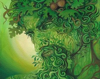 Green Man 20x24 Fine Art Print Pagan Mythology Forest God Cernunnos Bohemian Goddess Art