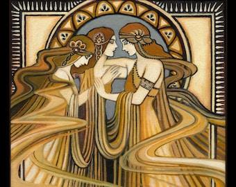 Three Graces Art Deco 8x10 Print Art Nouveau Fine Art Deco Pagan Bohemian Greek Goddess Art