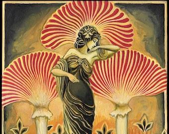 Soma Goddess ACEO ATC Mini Altar Art Pagan Mythology Art Nouveau Psychedelic Mushroom Bohemian