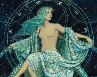 Asteria Goddess of the Stars 8x10 Giclée Print on Canvas Greek Mythology Art Print Gypsy Witch Goddess Art