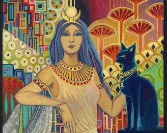 Bast Egyptian Cat Goddess Art Deco 20x24 Poster Print Pagan Mythology Psychedelic Gypsy Goddess Art
