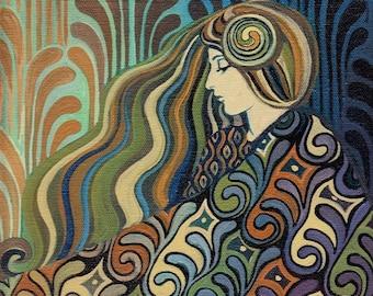 Dalia Goddess of Fate 8x10 Fine Art Print Pagan Lithuanian Mythology Art Nouveau Art Deco Goddess Art