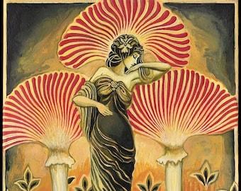 Soma Goddess 11x14 Print Pagan Mythology Art Deco Art Nouveau Psychedelic Mushroom Bohemian