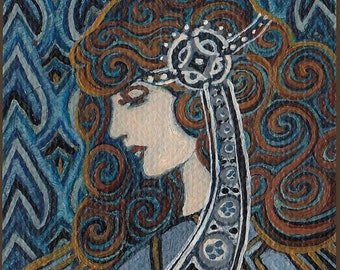 Lapis Lazuli Goddess Art Nouveau 8x10 Fine Art Print Gemstone Goddess Art