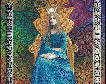 The High Priestess 8x10 Print Tarot Psychedelic Art Psychic Goddess Bohemian Gypsy Fortune Teller