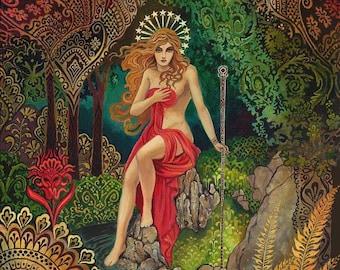 Empress Tarot Gypsy Goddess Art Nouveau 20x24 Poster Print Pagan Mythology Psychedelic Bohemian Gypsy Goddess Art