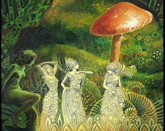 Tuatha Dé Danann 5x7 Blank Greeting Card Psychedelic Pagan Gypsy Bohemian Irish Fairy Mythology Goddess Art