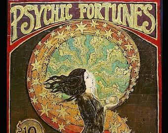 Psychic Fortunes Art Nouveau Gypsy Circus ACEO ATC Altar Art Pagan Mythology Psychedelic Bohemian Goddess Art