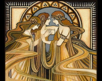 The Three Graces 16x20 Poster Print Art Nouveau Fine Art Deco Pagan Bohemian Greek Goddess Art