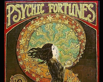 Psychic Fortunes Art Nouveau Gypsy Circus ACEO ATC Altar Art Pagan Mythology Psychedelic Bohemian Goddess Art