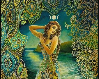 Selene Lunar Goddess 8x10 Fine Art Print Pagan Mythology Psychedelic Greek Moon Goddess Art
