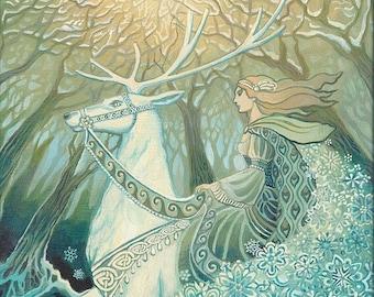 Snow Queen ACEO ATC Altar Art Fine Art Print Pagan Mythology Bohemian Yule Winter Solstice Goddess