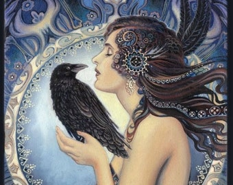 Raven Goddess 20x24 Canvas Giclée Print Pagan Mythology Witch Art Nouveau Psychedelic Bohemian Gypsy Goddess Art