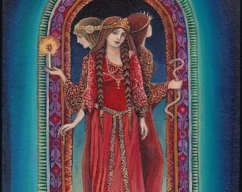Hecate Goddess of the Crossroads 16x20 Giclée Canvas Print Pagan Mythology Psychedelic Bohemian Gypsy Witch Goddess Art